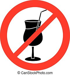 cocktailforbidden sign with cocktail (prohibition icon, not allowed symbol)