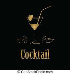 cocktailglas, menükarte, hintergrund., vektor, design