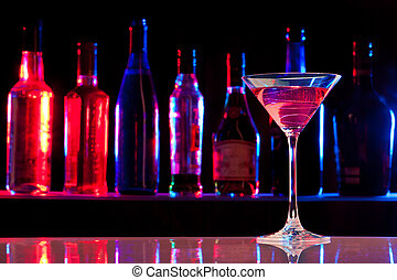 cocktailglas, mit, getränk, in, der, bar