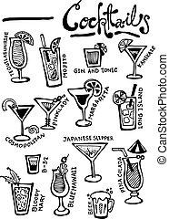 cocktaili, doodles, wektor, ręka, pociągnięty