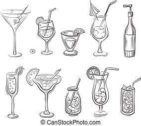 cocktaili, wektor, doodled, ilustracja