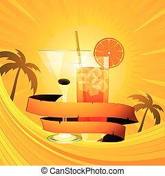 cocktails, été, bannière, fond, exotique