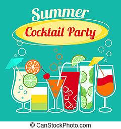 cocktails, été, gabarit, fête