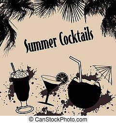 cocktails, été, vendange, affiche
