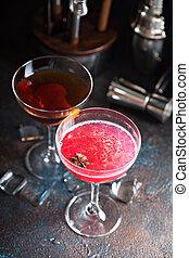 cocktails, étoile, vieux, anis, grapefruite, façonné