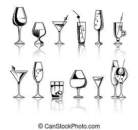 cocktails., アルコール, 飲み物, イラスト, セット, ベクトル