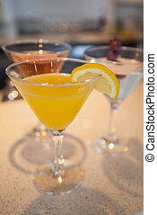 cocktails, aanzicht, drie, hoge hoek