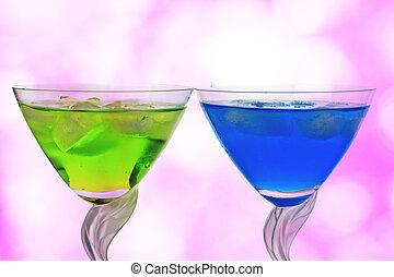 Cocktails against pink