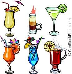 cocktails, alcool, illustration