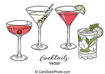 cocktails, alcoolique, main, dessiné, ensemble