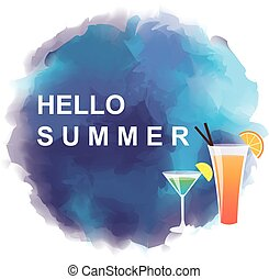 """Cocktails and abstract background with text """"HELLO SUMMER"""""""