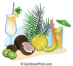 Cocktails and Fruits - Exotic drinks and fruits isolated on...