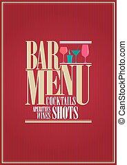 Cocktails and wine restaurant bar menu design