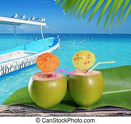 cocktails, antilles, paille, exotique, noix coco, plage