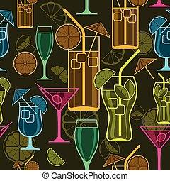 Cocktails background - Set of cocktails on dark, seamless...