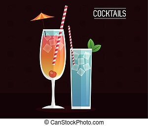 cocktails blue and mimosa black background