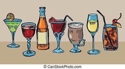 Cocktails - Set of colorful drawn cocktails