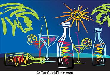 cocktails - abstract drawing tropical cocktails on the...