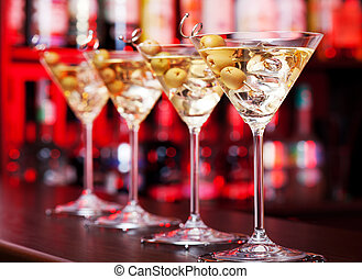 Cocktails Collection - Martini - Several glasses of famous ...