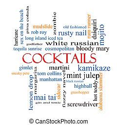 cocktails, concept, mot, nuage