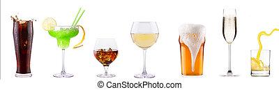 cocktails, différent, ensemble, boissons, alcoolique
