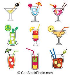 cocktails, différent, ensemble, icônes