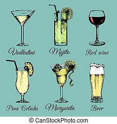 Cocktails drinks and glasses. Hand sketched alcoholic...
