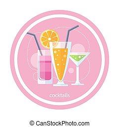 cocktails, ensemble, alcoolique