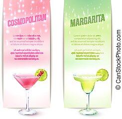 cocktails, ensemble, bannière