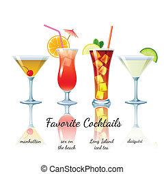 cocktails, ensemble, favori, isolé