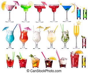 cocktails, ensemble, isolé, alcoolique