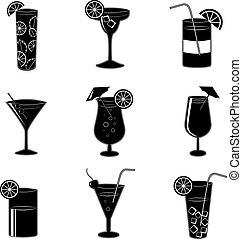 cocktails, fête, pictograms, alcool