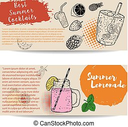 Cocktails flyers templates on white background.  Vector illustration