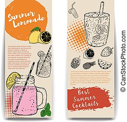 Cocktails flyers templates on wooden background.  Vector illustration