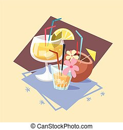 Cocktails Icon Summer Sea Vacation Concept Summertime Holiday