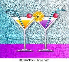 Cocktails - Illustration of two fruit cocktail drinks.