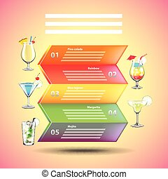 Cocktails infographics on colorful background