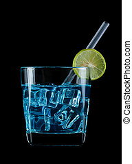 cocktails isolated on black background