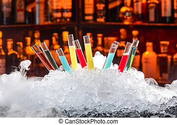 cocktails, laboratoriumglas, kleurrijke
