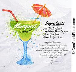 cocktails, margaret, aquarelle