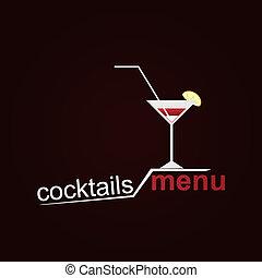 cocktails, menükarte