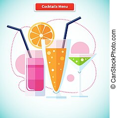 Cocktails Menu Icon Variety of Beverages