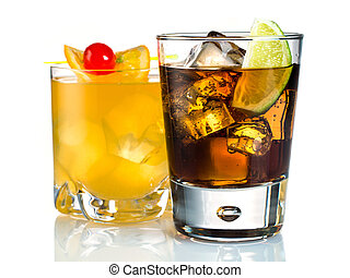 Cocktails - Mixed drinks on white background