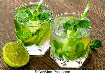 cocktails, mojito, boisson, chaux