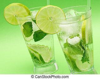 cocktails, mojito, vert, deux, fond