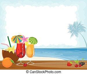 cocktails, océan, exotique