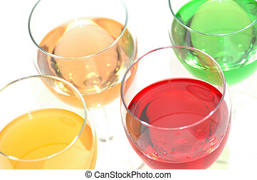 Cocktails of various colors isolated on white