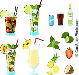 cocktails, og, ingredienser, set.