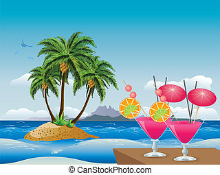 Cocktails on the beach - Two glasses of pink cocktail over...