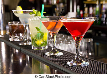 Cocktails - Five cocktails on the bar counter